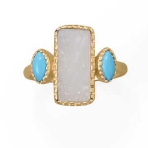 14k Druzy and Synthetic Turquoise Ring